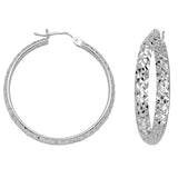"10K White Gold 3 mm Diamond Cut Hoop Earrings 1.6"" Diameter"