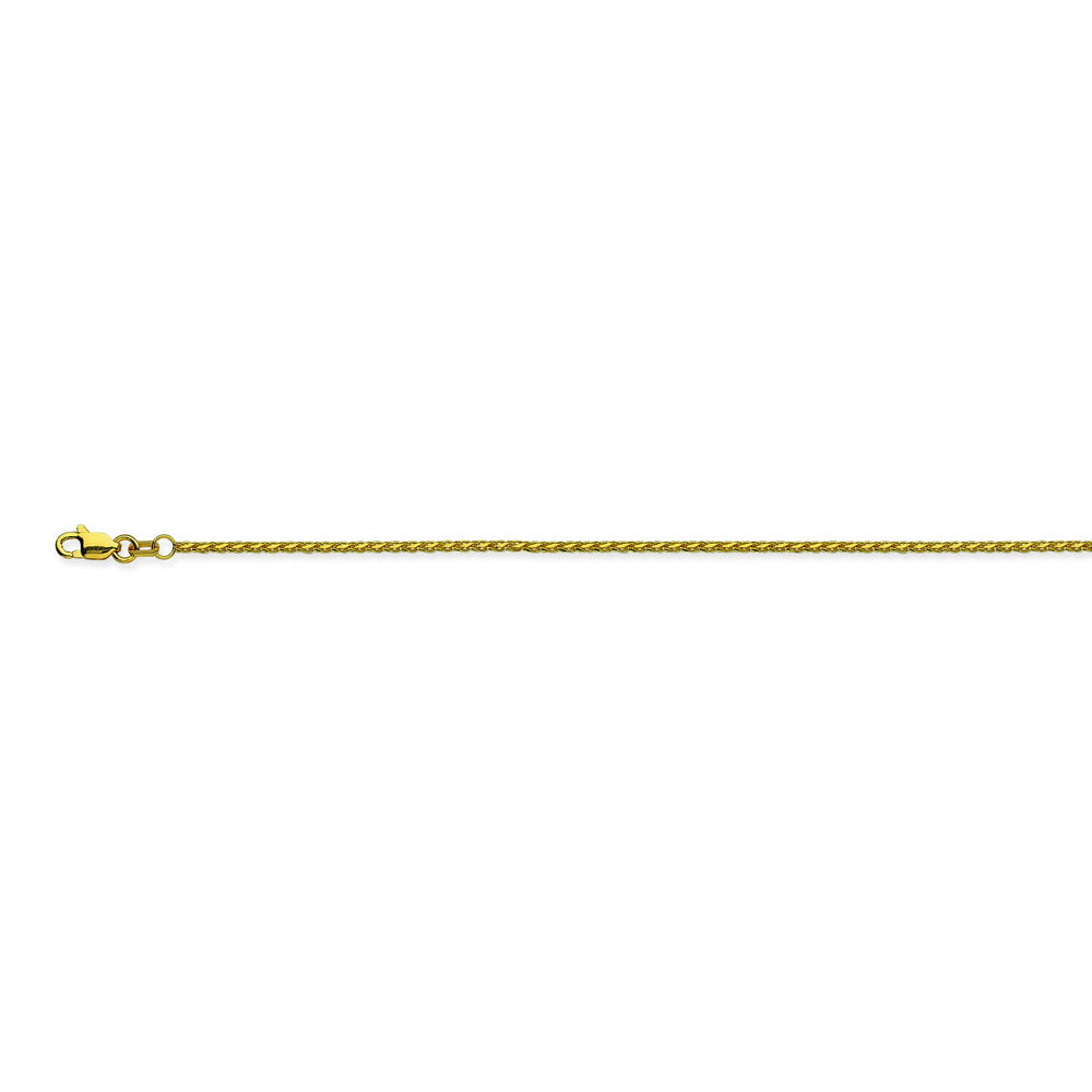 14K Yellow Gold 1.05 Diamond Cut Wheat Chain in 16 inch, 18 inch, 20 inch, & 24 inch
