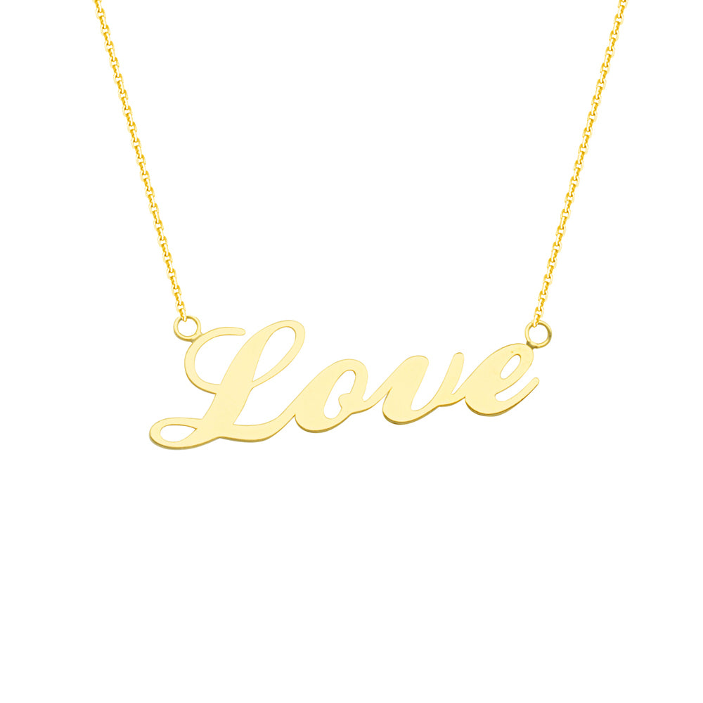 "14K Yellow Gold Love Necklace. Adjustable Cable Chain 16"" to 18"""