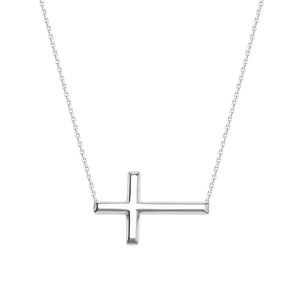 "14K White Gold Sideways Cross Necklace. Adjustable Cable Chain 16"" to 18"""