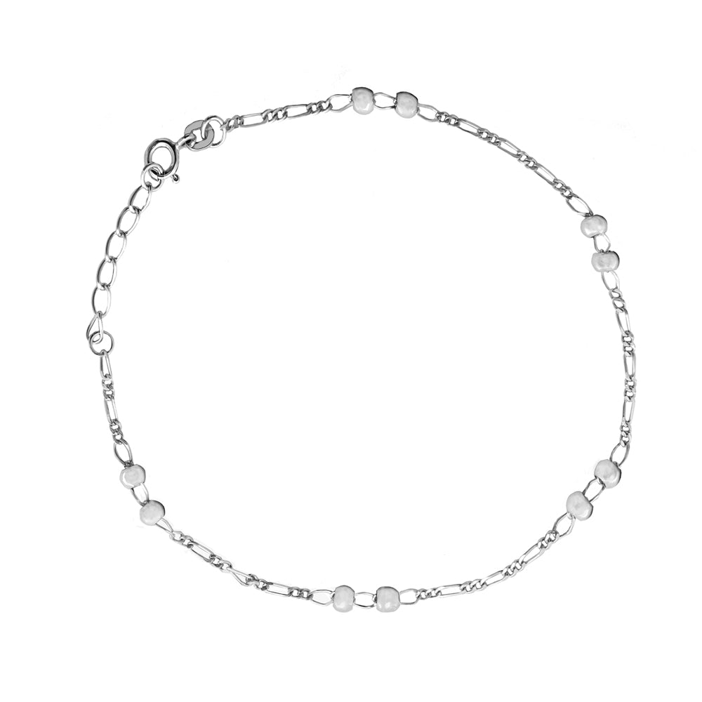 "Sterling Silver Beads Stations Anklet 10"" length"