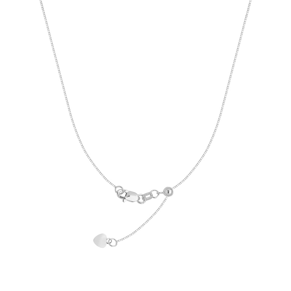 "22"" Adjustable Box Chain Necklace with Slider 14K White Gold 0.96 mm 4.05 grams"