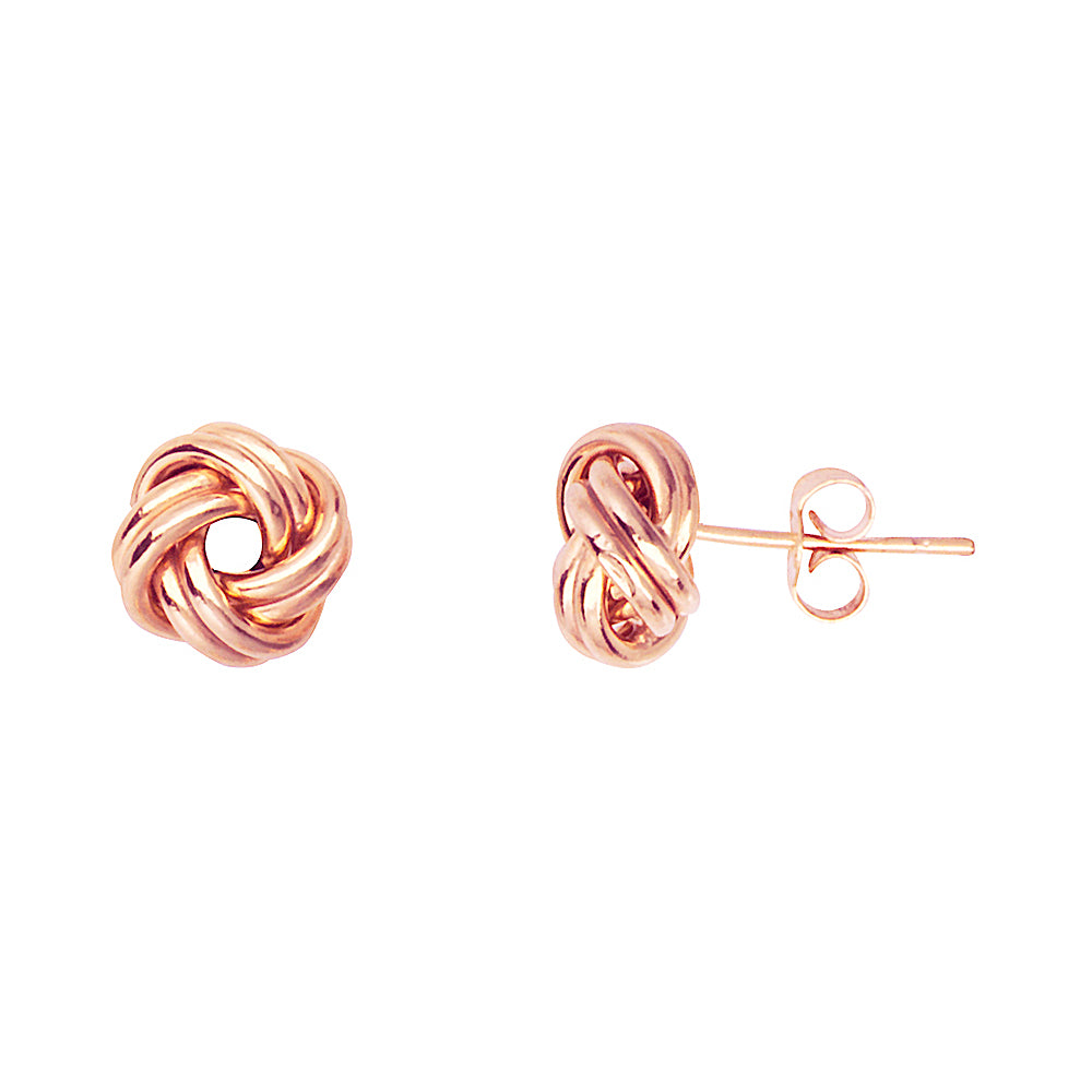 14K Rose Gold Puffed Double Tubes Small Love Knot Earring