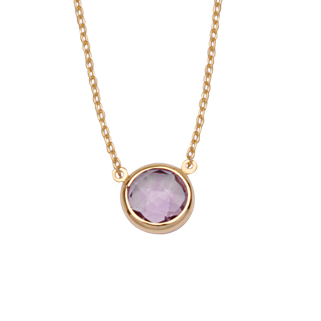 "14K Yellow Gold Bezel Set Amethyst Necklace. Adjustable Cable Chain 16"" to 18"""