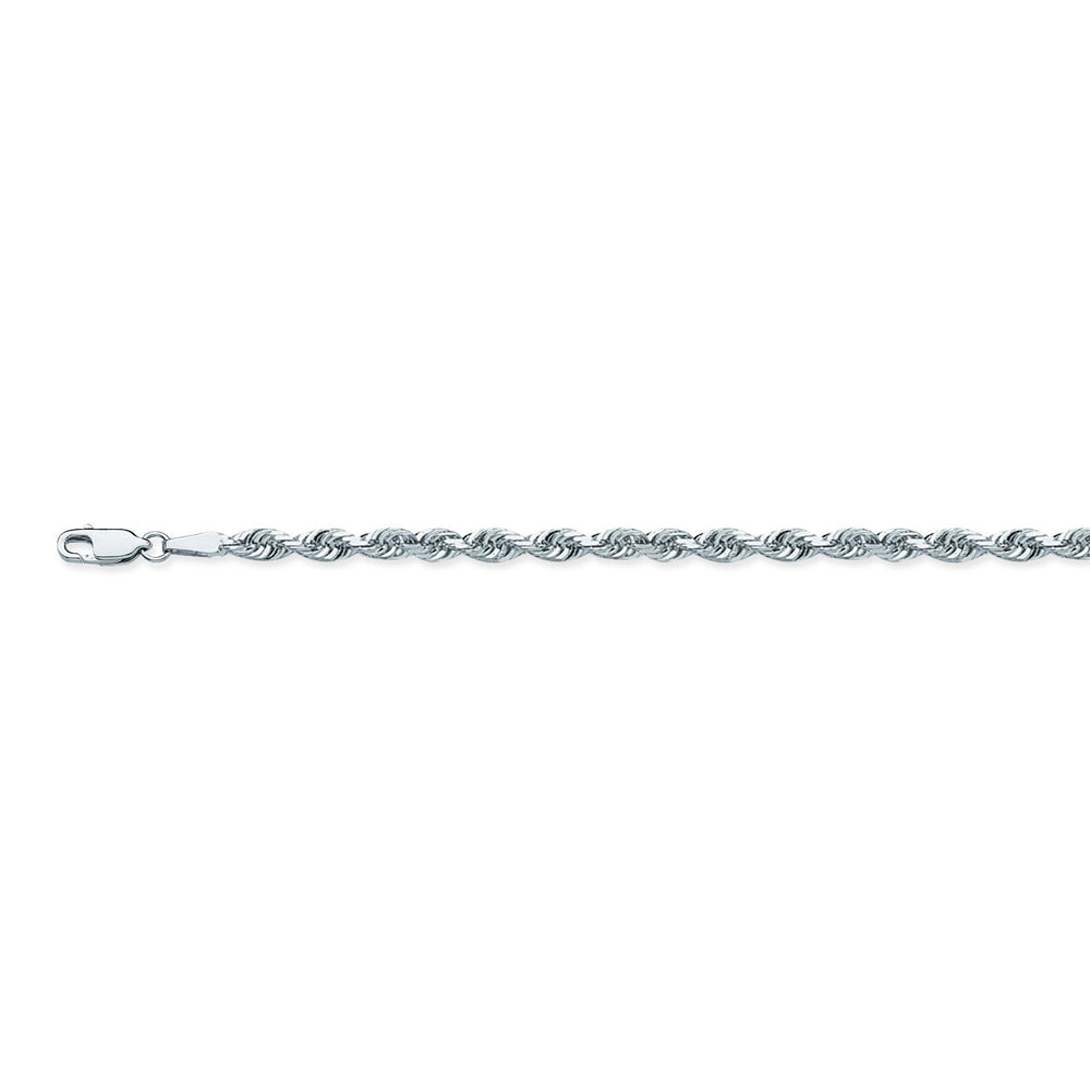 14K White Gold 4.4 Diamond Cut Rope Chain in 22 inch, 24 inch, & 30 inch