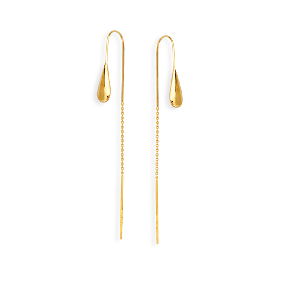 14K Yellow Gold Solid Tear Drop Threader Earring