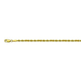 14K Yellow Gold 3 Diamond Cut Rope Chain in 20 inch, 22 inch, 24 inch, & 30 inch