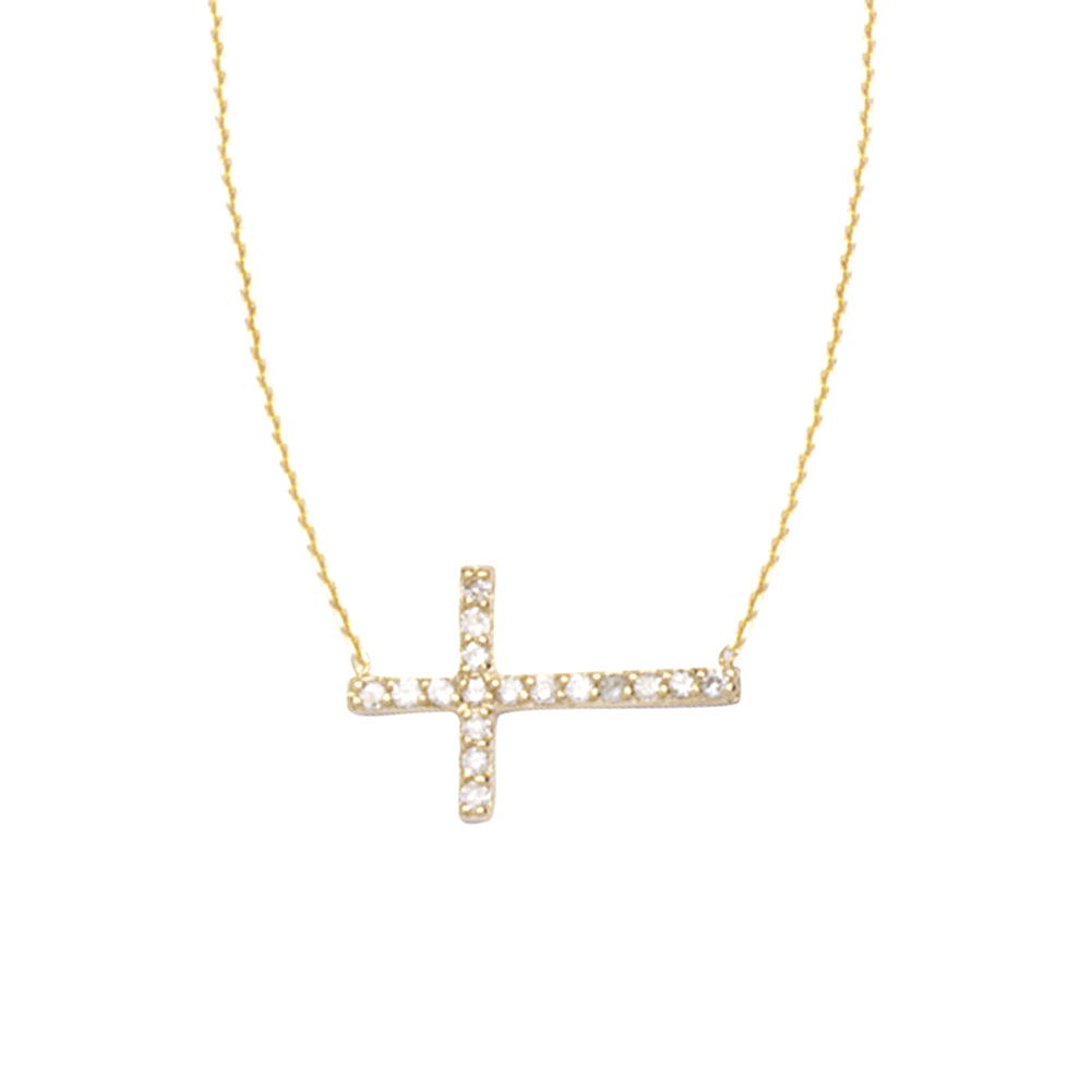 "14K Yellow Gold Sideways Cross Diamond Necklace. Adjustable Cable Chain 16"" to 18"""