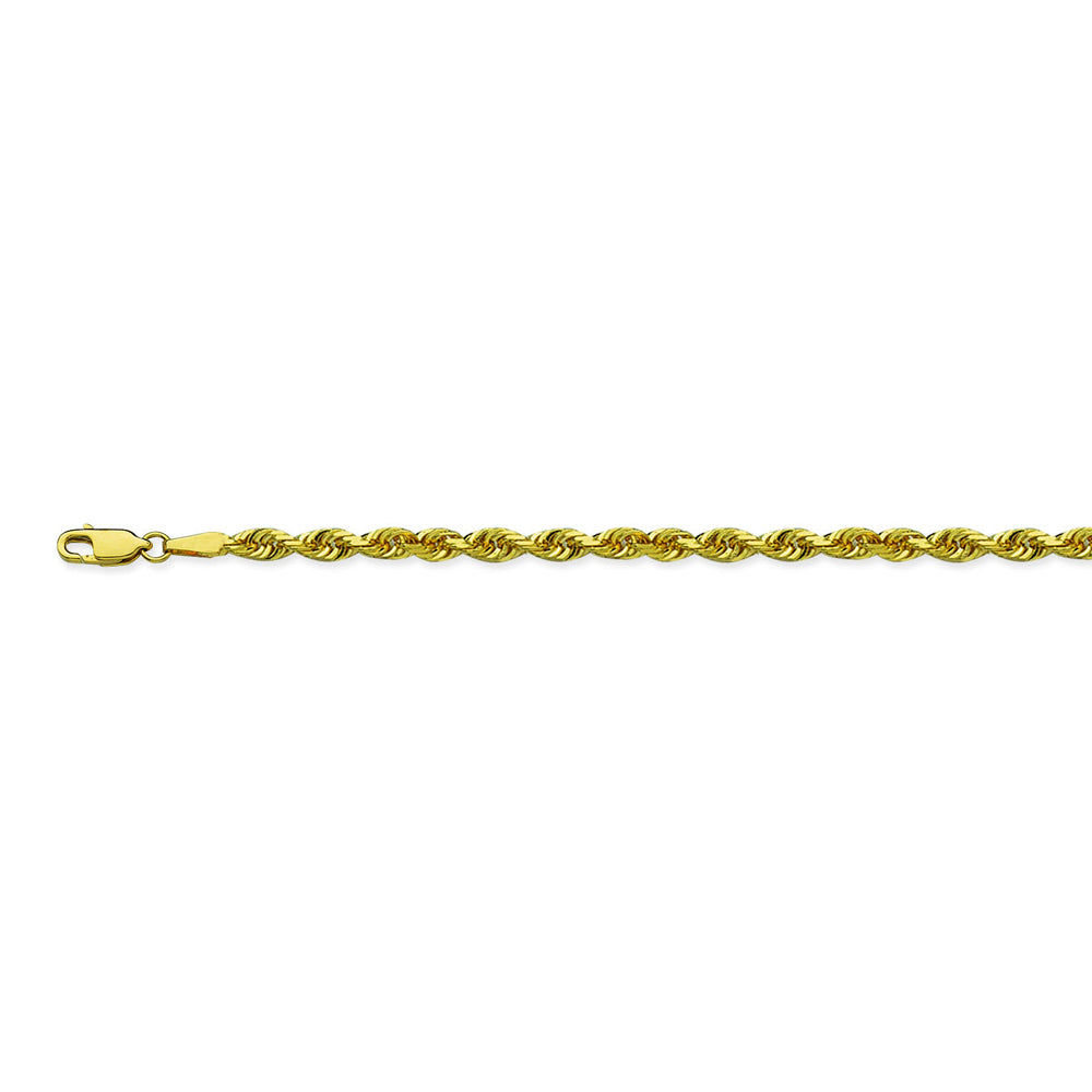 14K Yellow Gold 4.4 Diamond Cut Rope Chain in 22 inch, 24 inch, & 30 inch