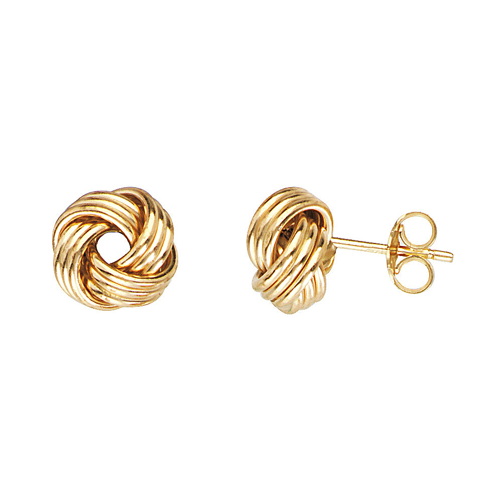 14K Yellow Gold Medium Tripple Tube Love Knot Earring