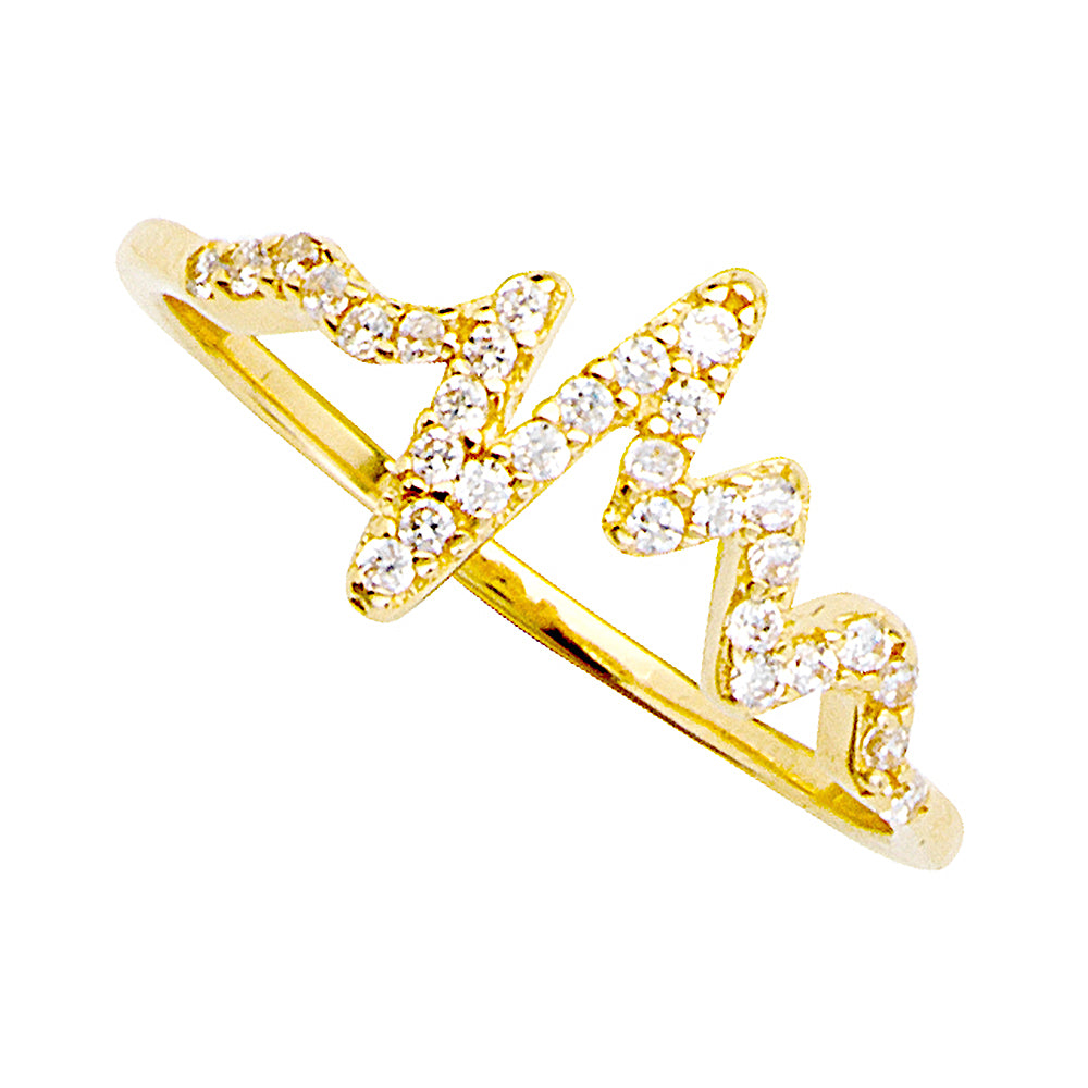14K Yellow Gold Cubic Zirconia Heartbeat Ring