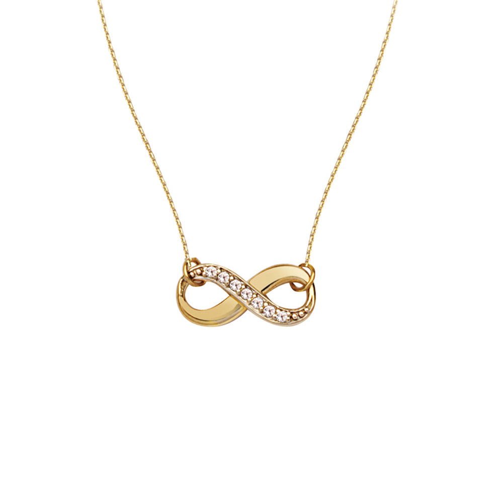 "14K Yellow Gold Infinity Diamond Necklace. Adjustable Cable Chain 16"" to 18"""