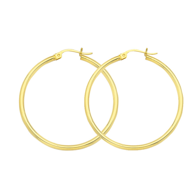 "10K Yellow Gold 2 mm Polished Round Hoop Earrings 0.8"" Diameter"