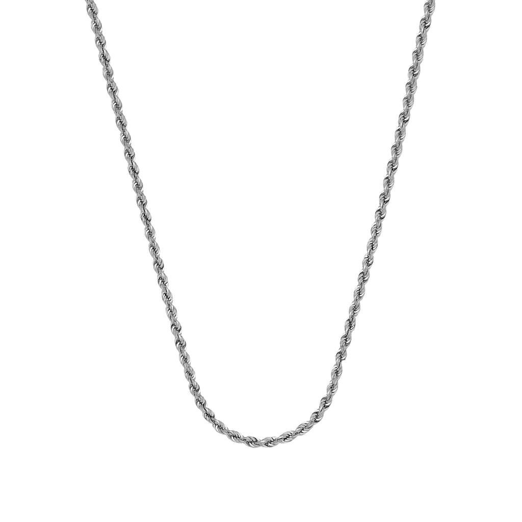 10K White Gold 1.56 Diamond Cut Rope Chain in 16 inch, 18 inch, 20 inch, & 24 inch