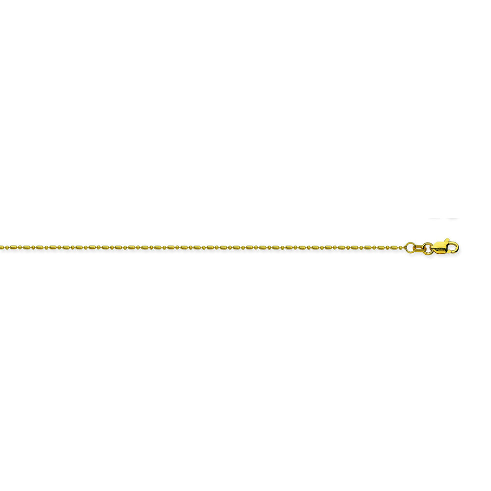 14K Yellow Gold 1.2 Diamond Cut Bead Chain in 18 inch, 20 inch, & 16 inch