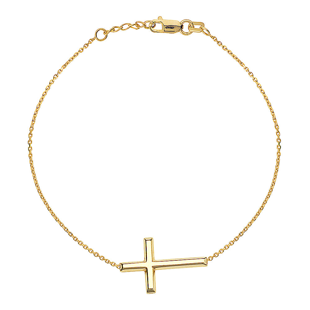 "14K Yellow Gold Sideways Cross Bracelet. Adjustable Cable Chain 7"" to 7.50"""