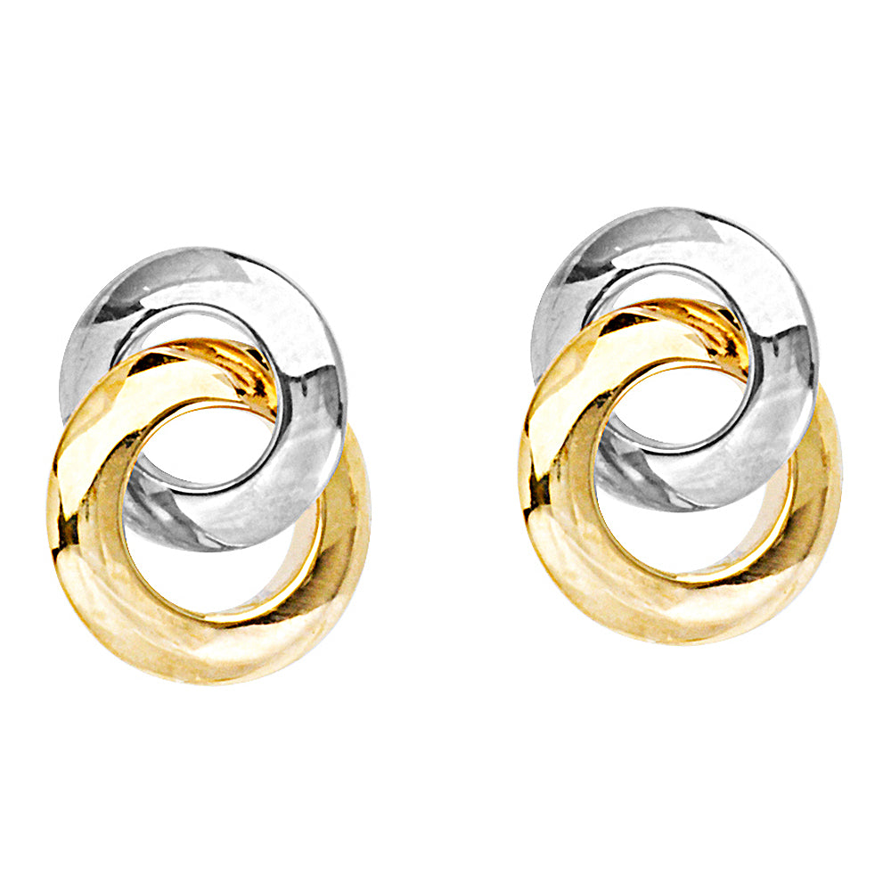 14K Yellow|White Gold Interlocked Circles Earring