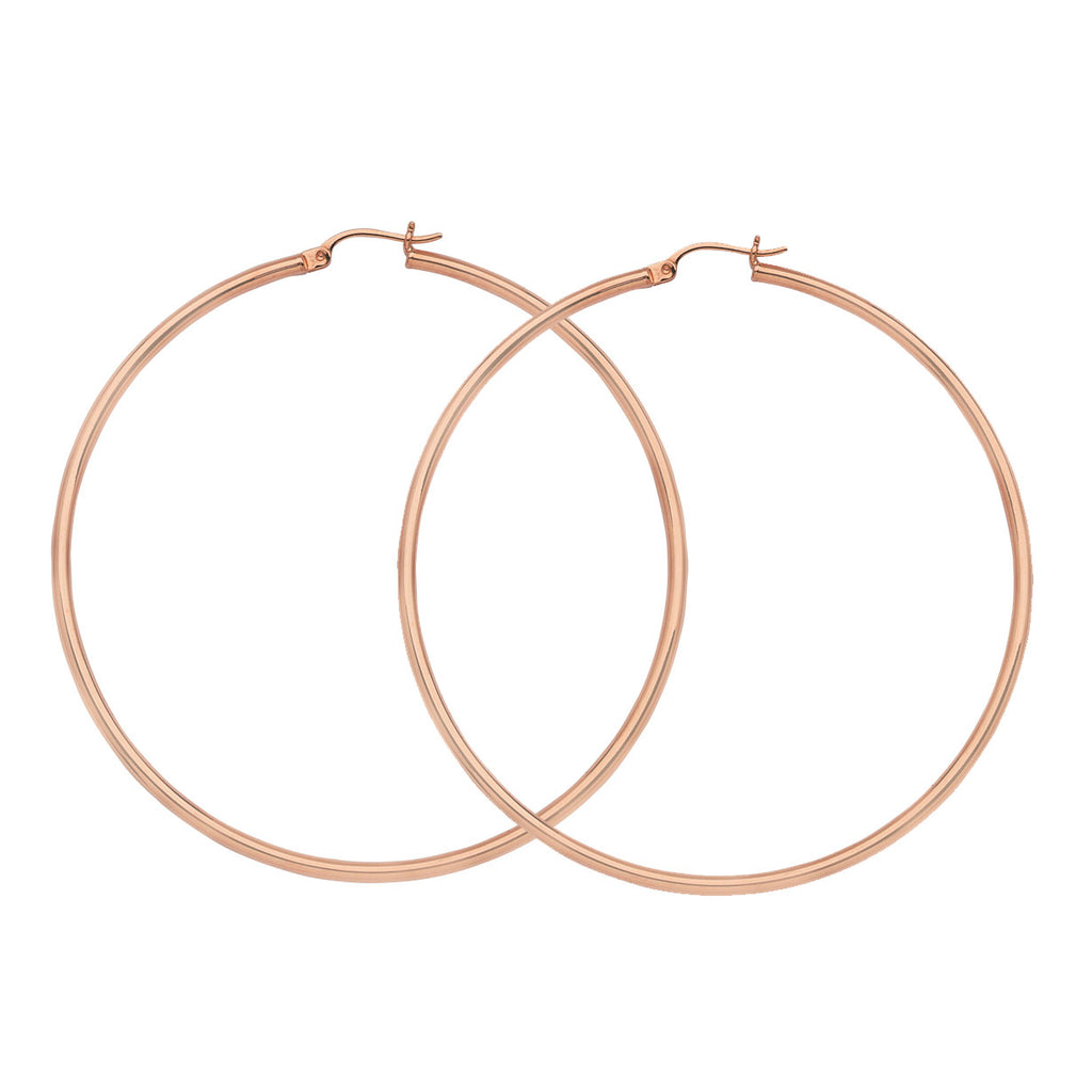 "14K Rose Gold 2 mm Light Weight Hoop Earrings 1.6"" Diameter"