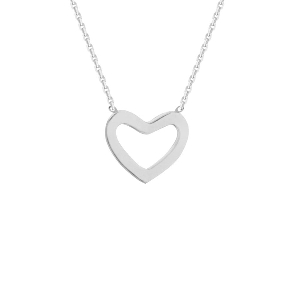 "14K White Gold Heart Necklace. Adjustable Diamond Cut Cable Chain 16"" to 18"""