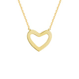 "14K Yellow Gold Heart Necklace. Adjustable Diamond Cut Cable Chain 16"" to 18"""