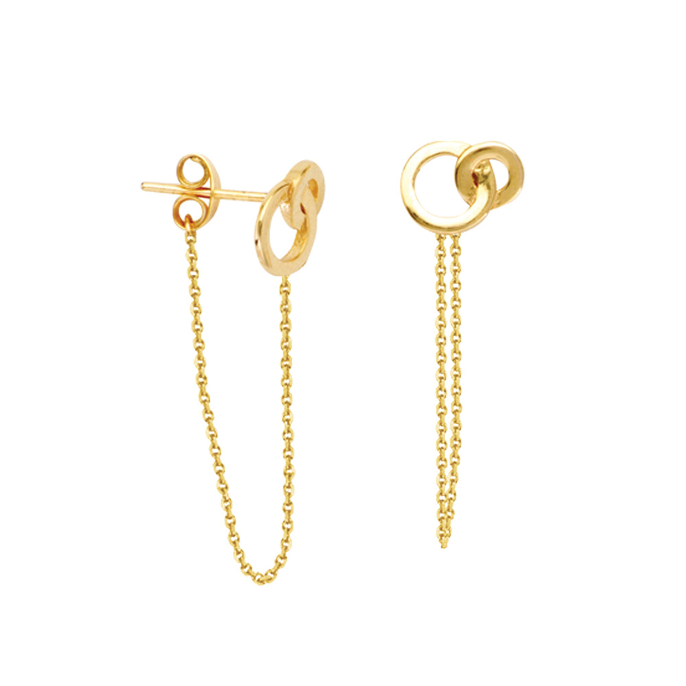 14K Yellow Gold Front to Back Interlocking Circles Threader Earring
