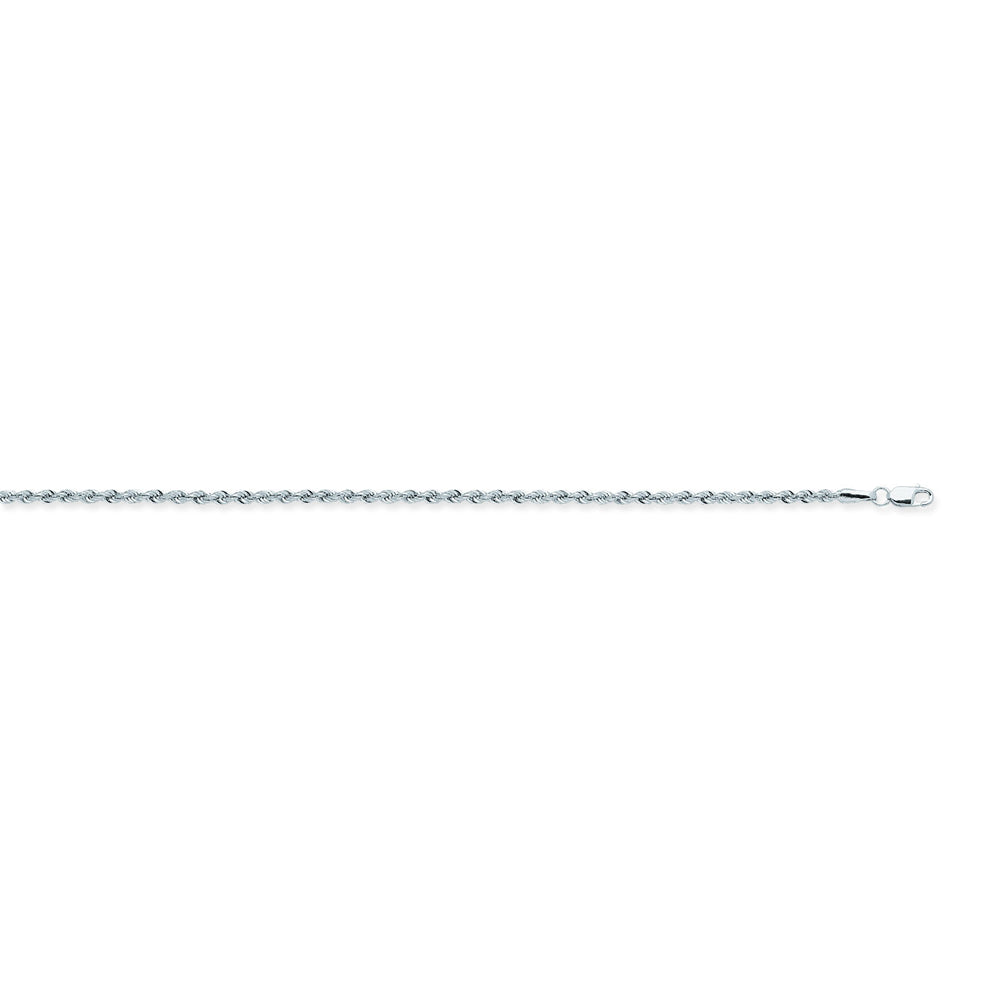 14K White Gold 1.8 Light Rope Chain in 16 inch, 18 inch, 20 inch, 22 inch, & 24 inch