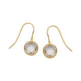 14K Yellow Gold Bezel Set White Topaz Earring