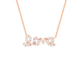 "14K Rose Gold Cubic Zirconia Love Necklace. Adjustable Diamond Cut Cable Chain 16"" to 18"""