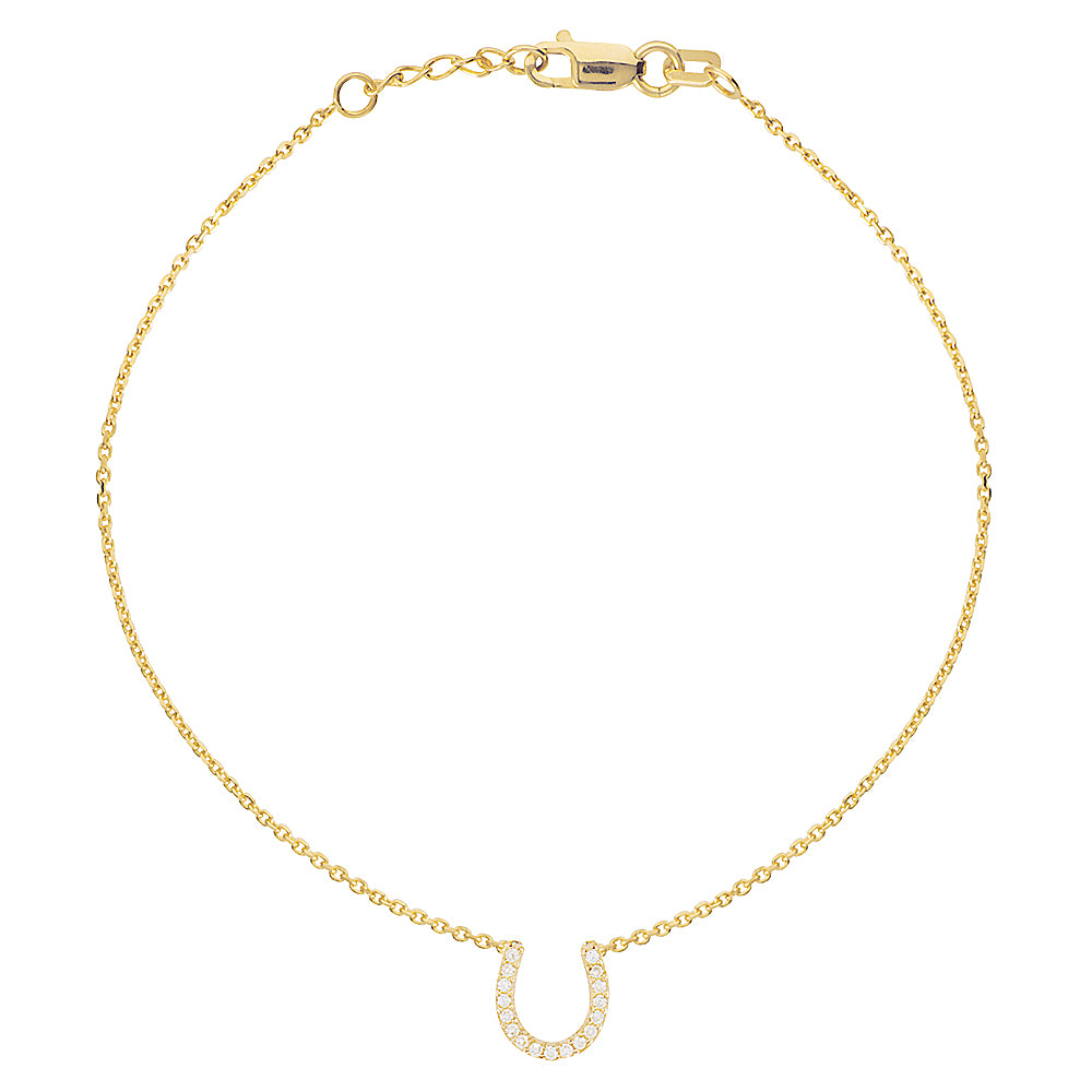 "14K Yellow Gold Cubic Zirconia Lucky Horseshoe Bracelet. Adjustable Diamond Cut Cable Chain 7"" to 7.50"""