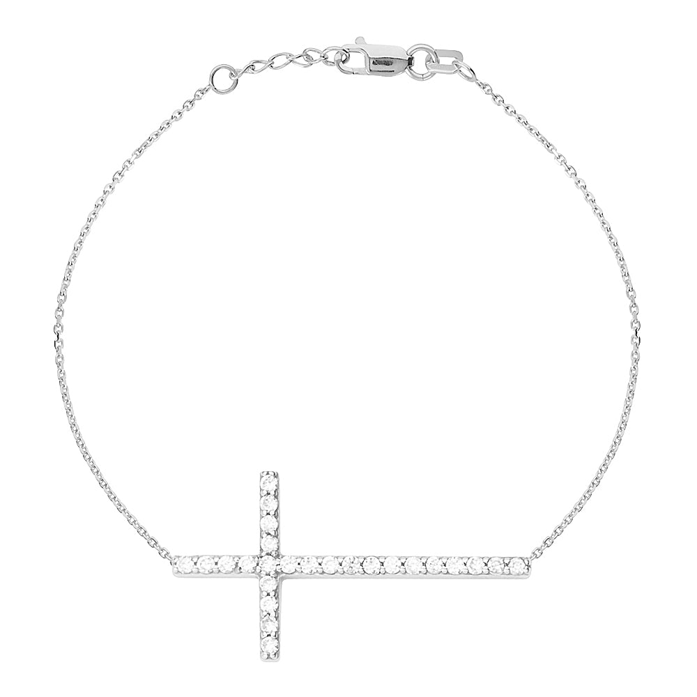 "14K White Gold Sideways Cross Cubic Zirconia Bracelet. Adjustable Cable Chain 7"" to 7.50"""