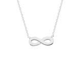 "14K White Gold Infinity Necklace. Adjustable Diamond Cut Cable Chain 16"" to 18"""