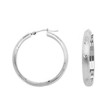 14K White Gold Half Tube Diamond Cut Florentine Style 4 mm Hoop Earrings