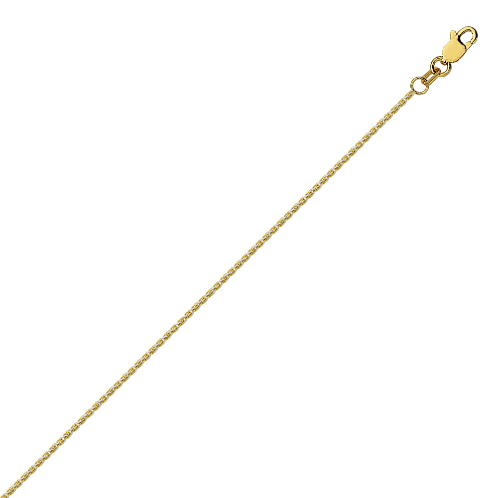 14K Two Tone Yellow & White Gold 0.85 Pave Wheat Chain in 16 inch, 18 inch, & 20 inch