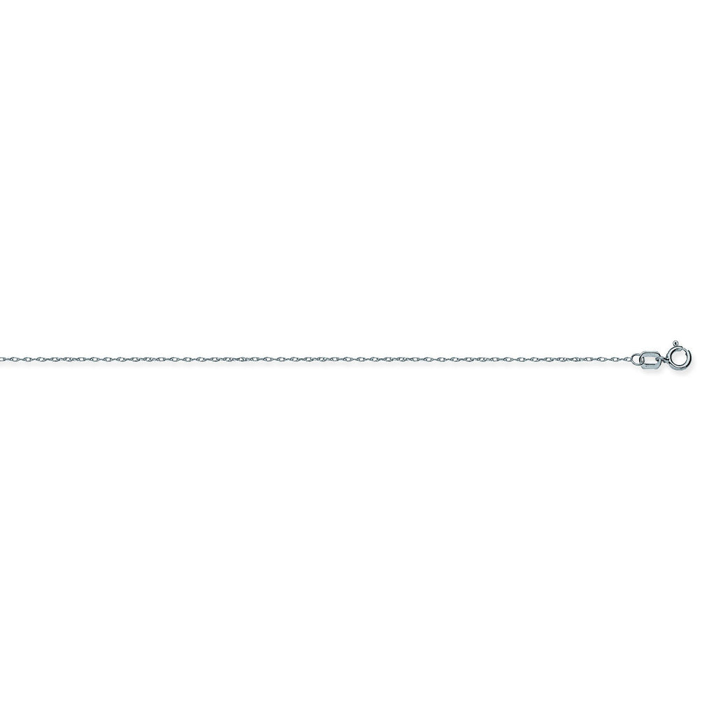 14K White Gold 0.75 Light Rope Chain in 16 inch, 18 inch, & 20 inch
