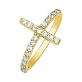 14K Yellow Gold Sideways Cross Cubic Zirconia Ring