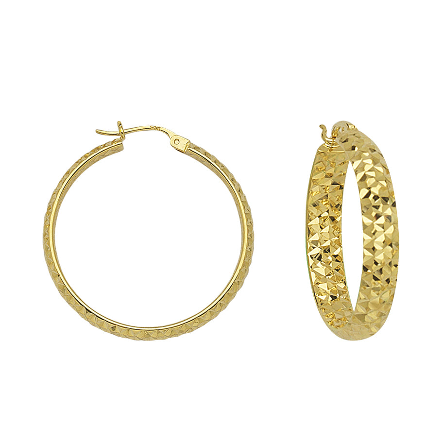 "10K Yellow Gold 3 mm Diamond Cut Hoop Earrings 0.6"" Diameter"