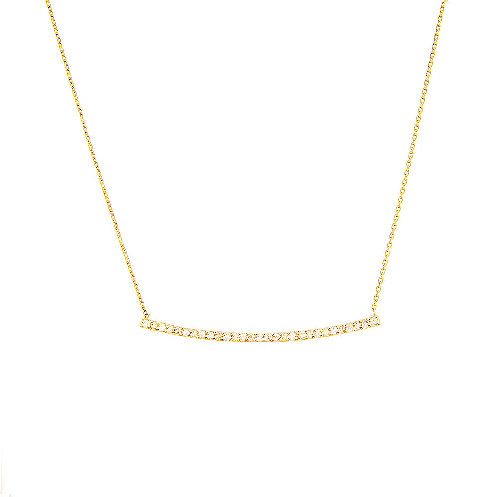 "14K Yellow Gold Bar Diamond Necklace. Adjustable Cable Chain 16"" to 18"""