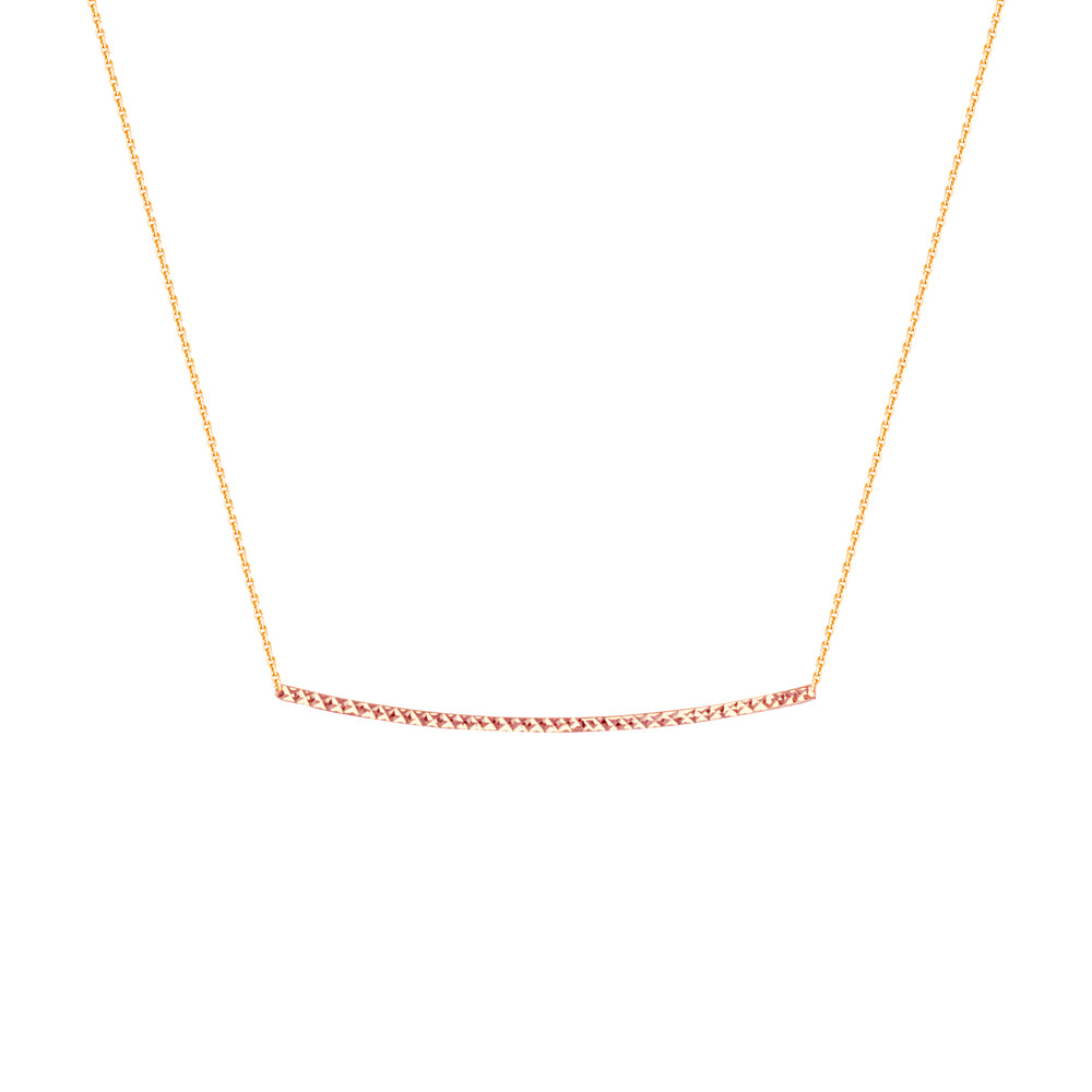 "14K Rose Gold Diamond Cut Bar Necklace. Adjustable Cable Chain 16"" to 18"""