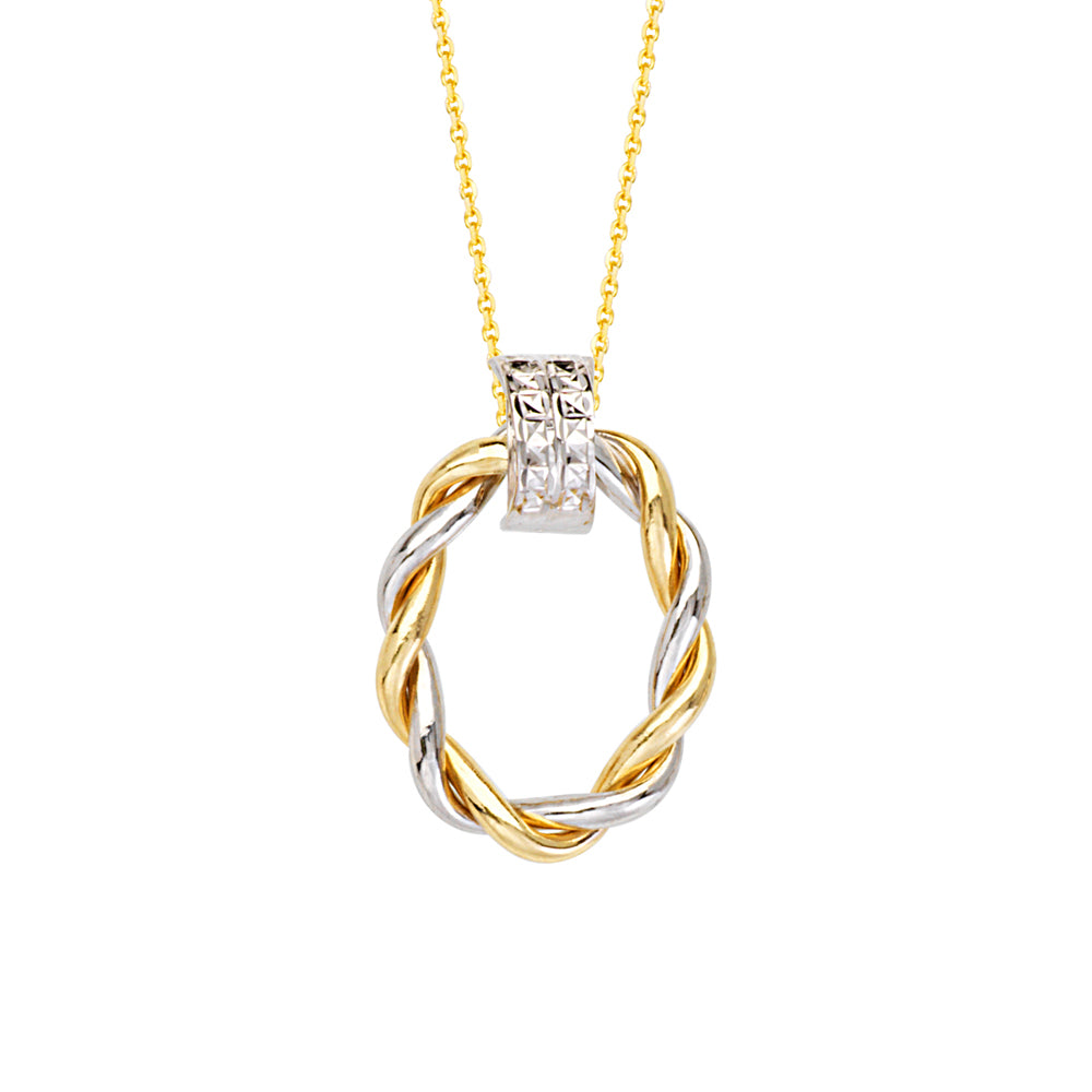 "14K Yellow|White Gold Diamond Cut Braided Oval Necklace. Adjustable Cable Chain 16""-18"""