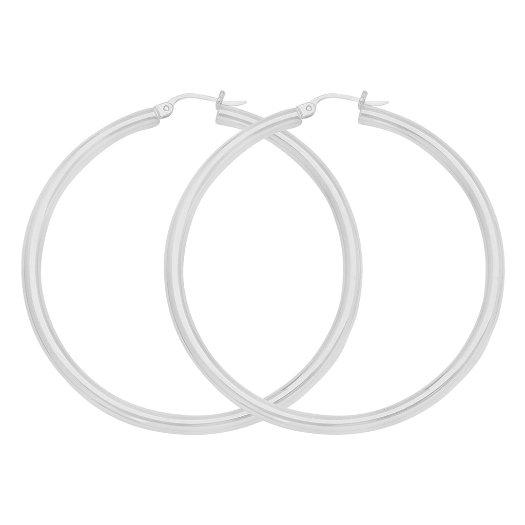 "10K White Gold 3 mm Polished Round Hoop Earrings 1.6"" Diameter"