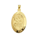 14K Yellow Gold Saint Joseph Oval Medal With Text Saint Joseph. Pray for us