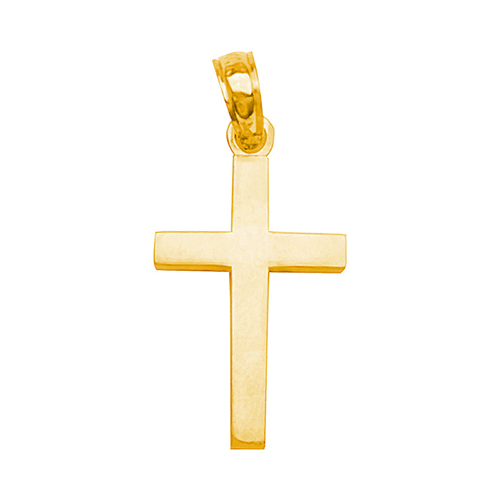 14K Yellow Gold Beveled Style Cross Pendant