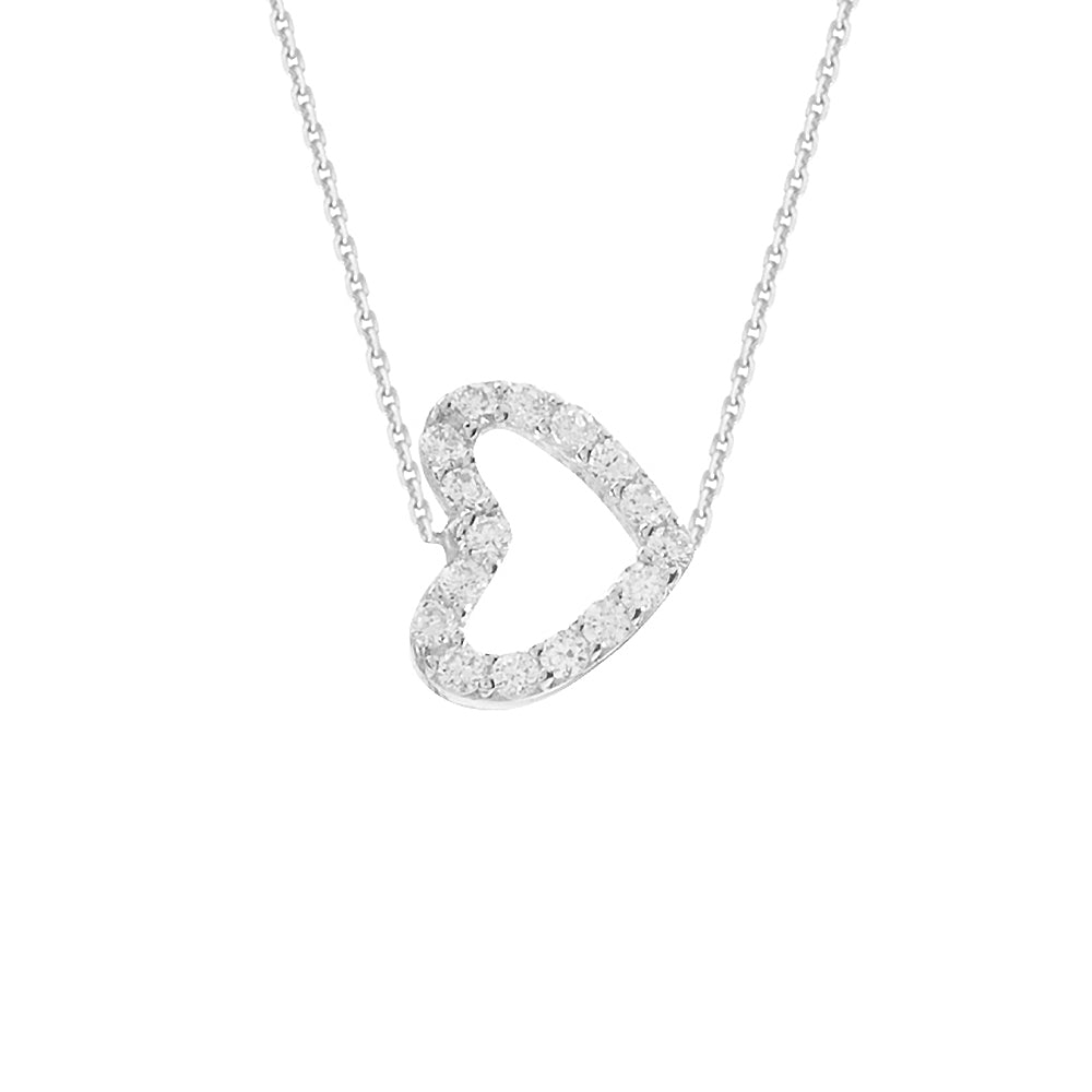 "14K White Gold Cubic Zirconia Sideways Heart Necklace. Adjustable Diamond Cut Cable Chain 16"" to 18"""