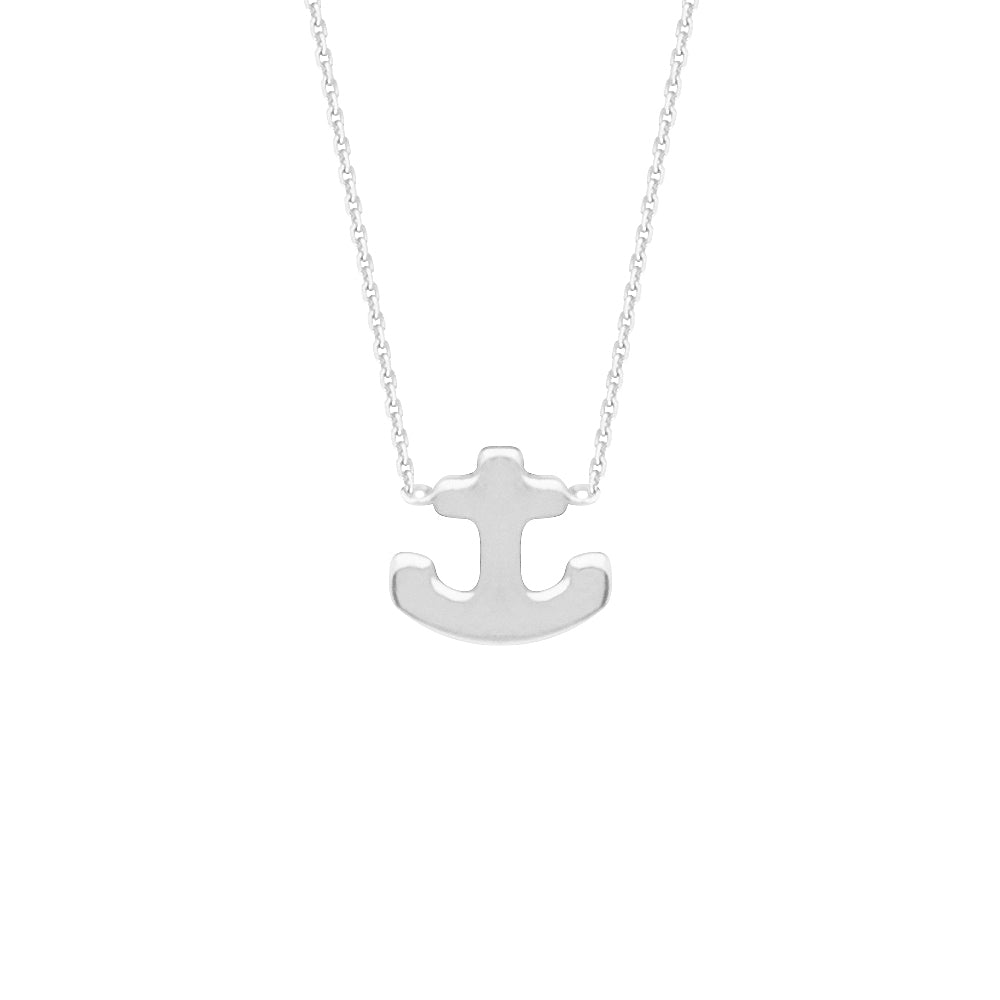 "14K White Gold Anchor Necklace. Adjustable Cable Chain 16"" to 18"""