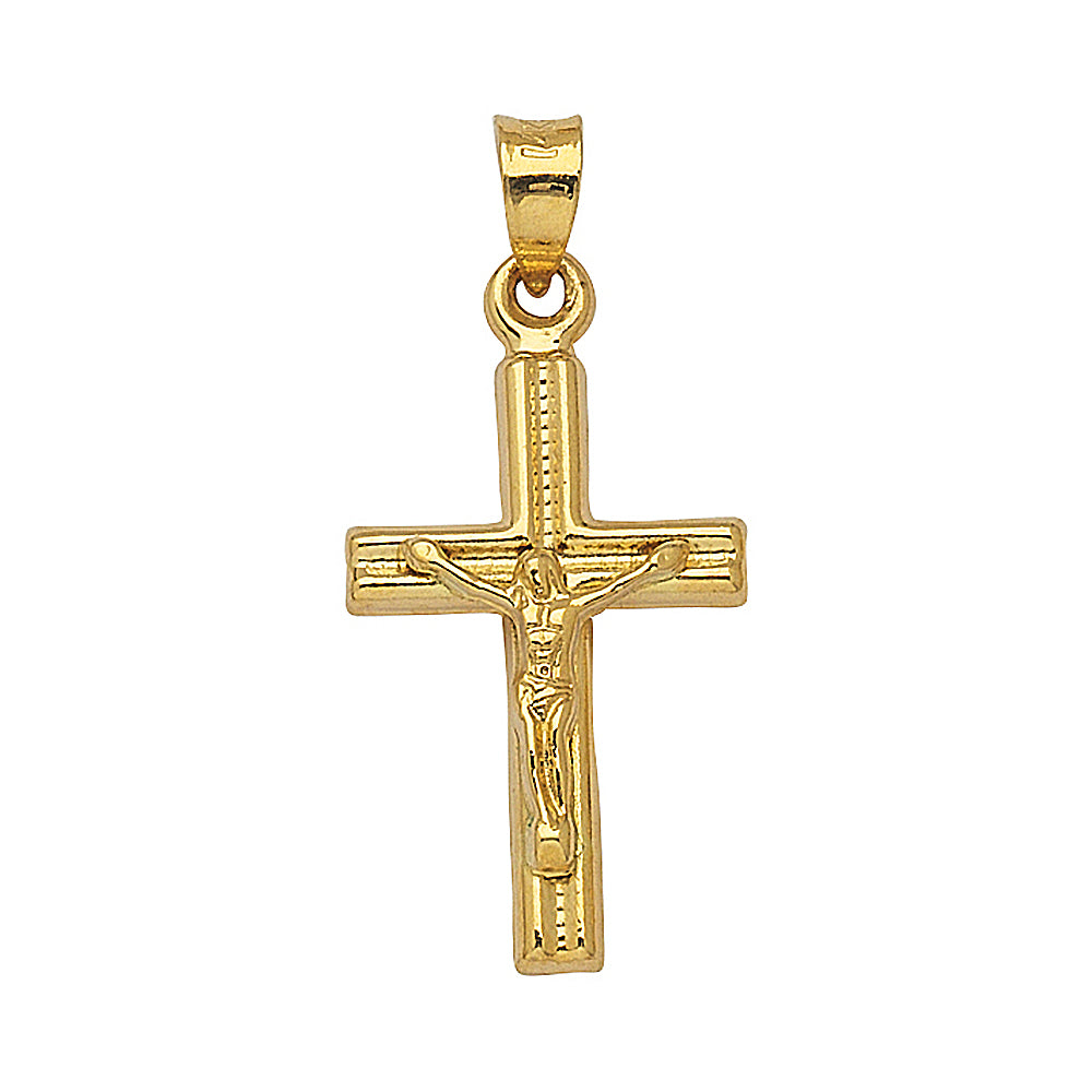 14K Yellow Gold 3D Style Hollow Crucifix Cross Pendant