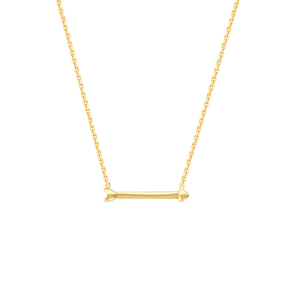 "14K Rose Gold Arrow Necklace. Adjustable Diamond Cut Cable Chain 16"" to 18"""