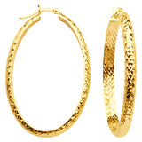 10K Yellow Gold 4 mm Diamond Cut Oval Hoop Earrings 28mmx42mm