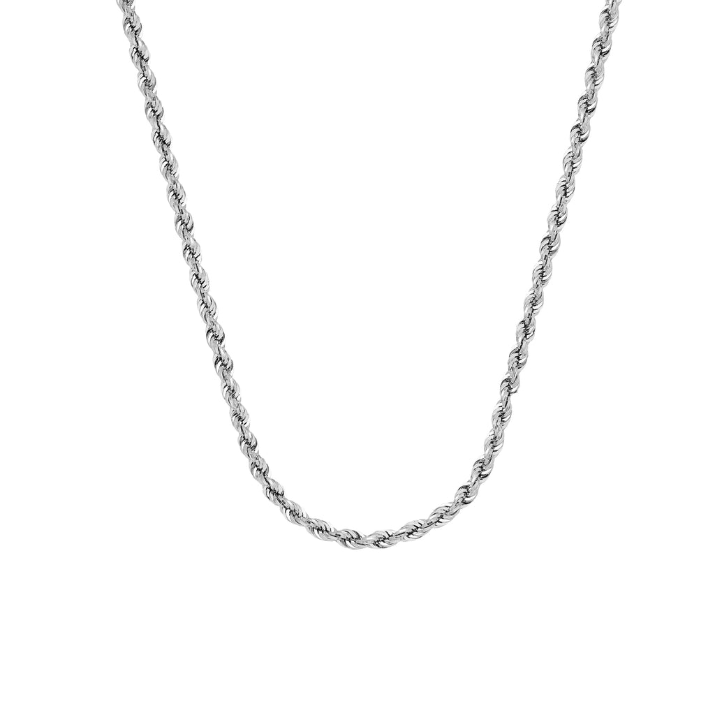10K White Gold 3 Diamond Cut Rope Chain in 20 inch, 22 inch, 24 inch, & 30 inch
