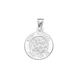 14K White Gold Saint Michael Round Medal With Text Saint Michael Pray for us