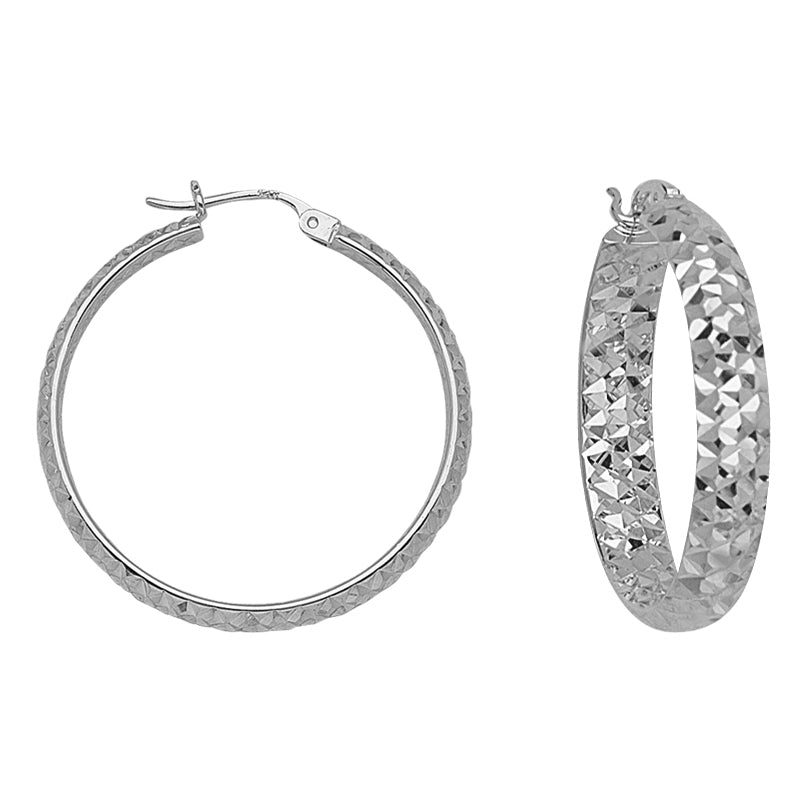 "14K White Gold 3 mm Diamond Cut Hoop Earrings 0.6"" Diameter"